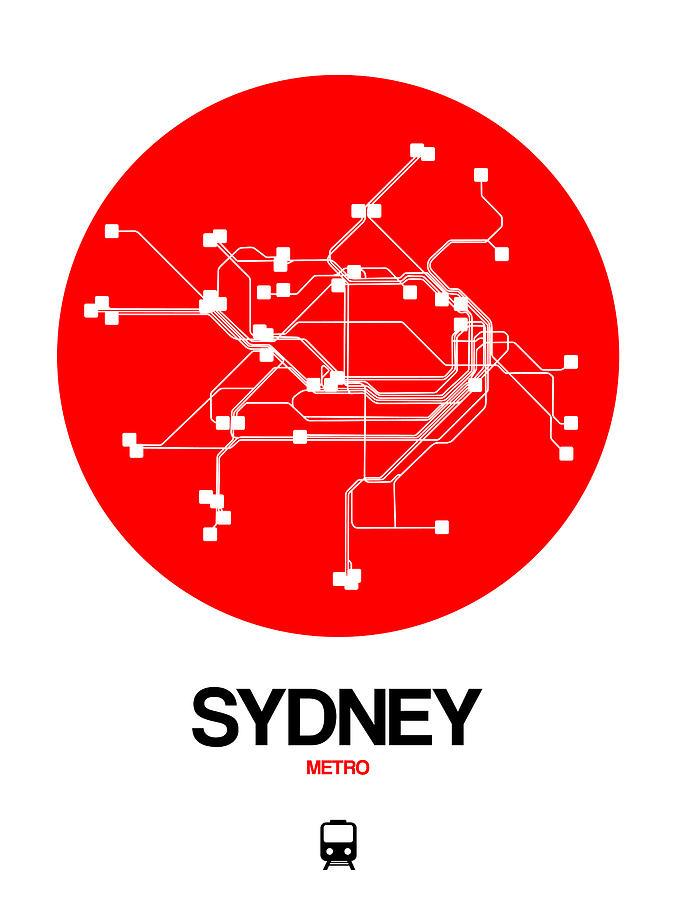 Sydney Digital Art - Sydney Red Subway Map by Naxart Studio