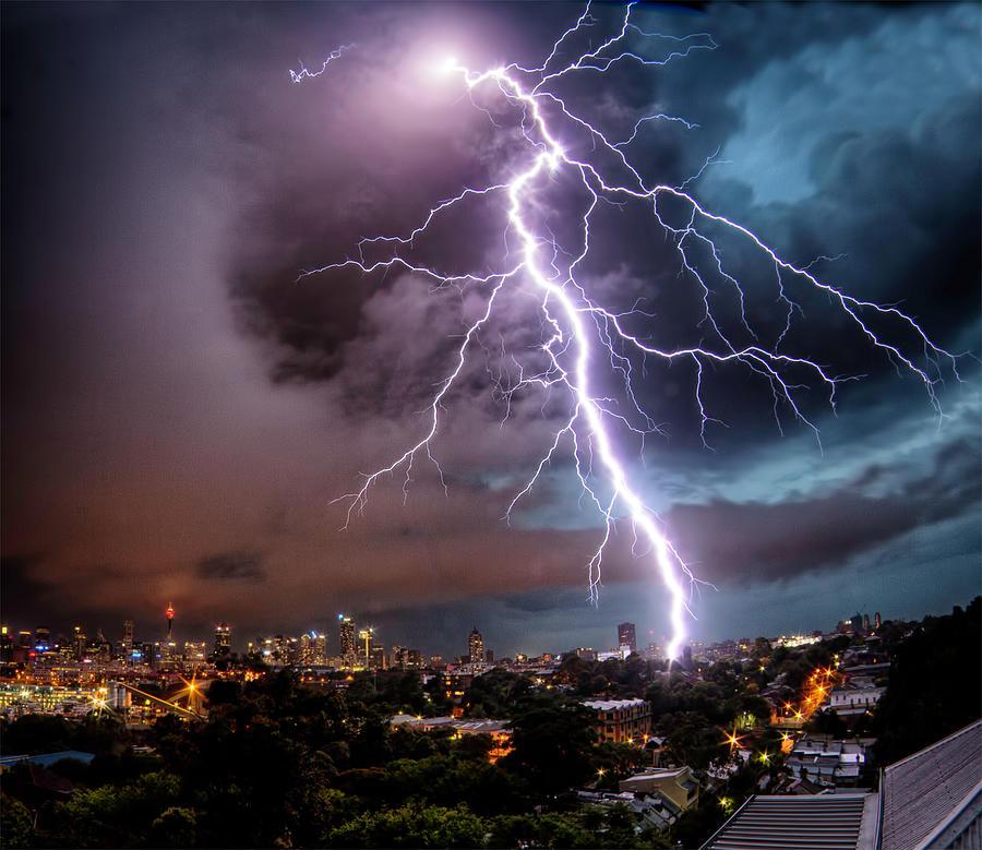 Sydney Summer Lightning Strike Photograph by Australian Land, City, People Scape Photographer