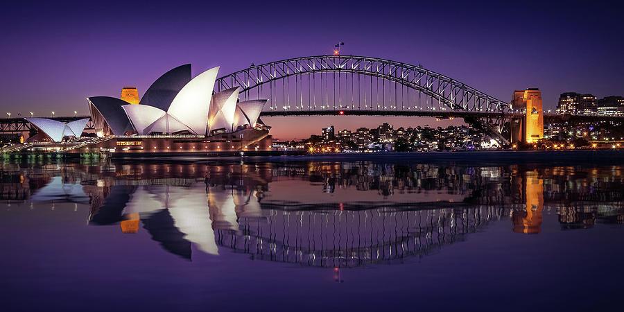 Sydney Waterfront Sunset Postcard  by Daniela Constantinescu