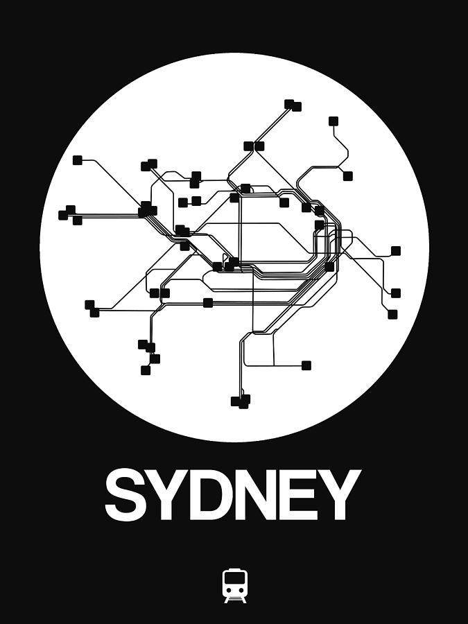 Sydney Digital Art - Sydney White Subway Map by Naxart Studio