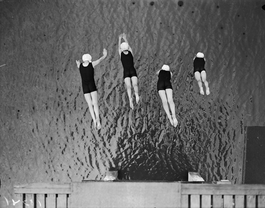 Synchronized Dive Photograph by Fox Photos