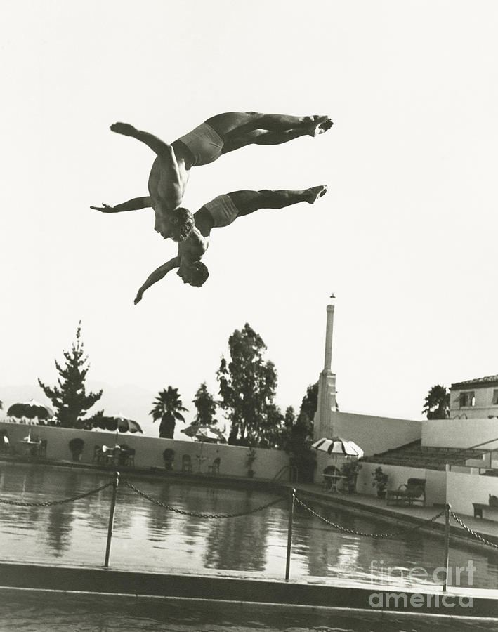 Friendship Photograph - Synchronized Divers In Mid-air by Everett Collection