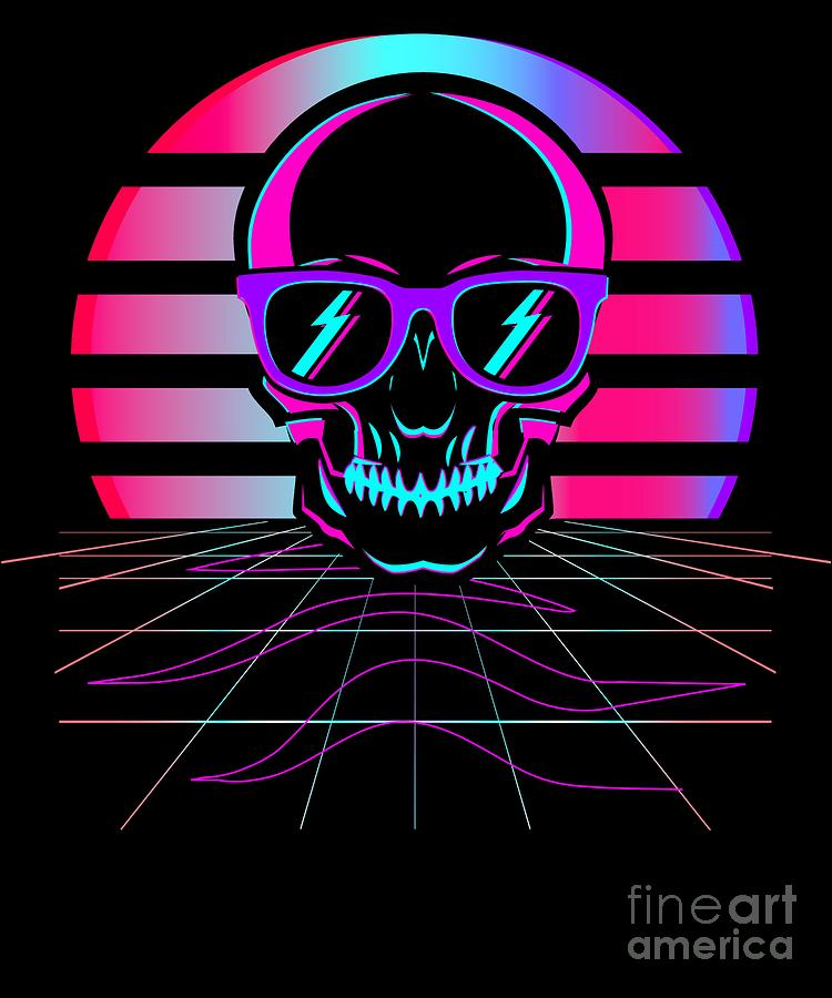 Synth Pop 80s 90s Aesthetic Skull Retro Vaporwave Design Print Digital Art By Dc Designs Suamaceir