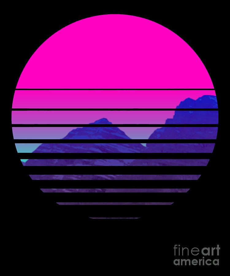 T 500 108 Vaporwave Sunset Mountains Scenery Digital Art By Dc