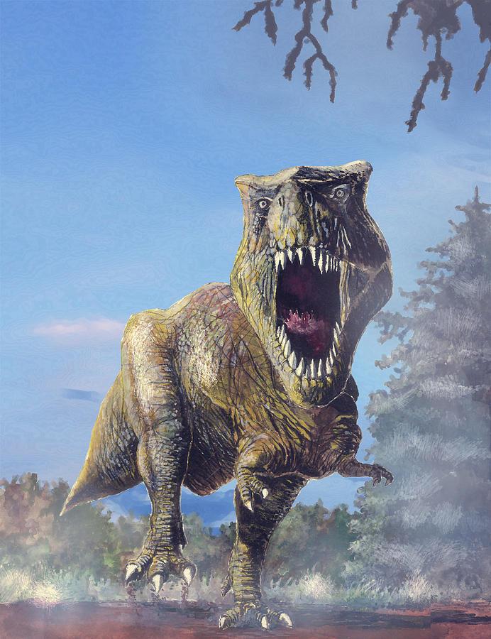 T Rex Attacking Digital Art By Marcin Krysiak