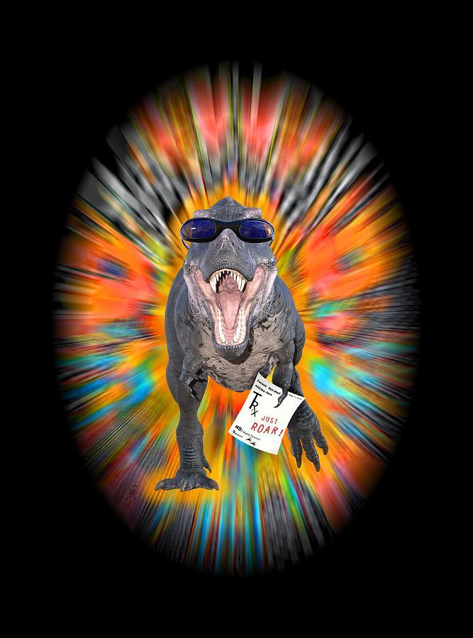 Trex Digital Art - T-rex Prescription For Happiness by Carmen Hathaway