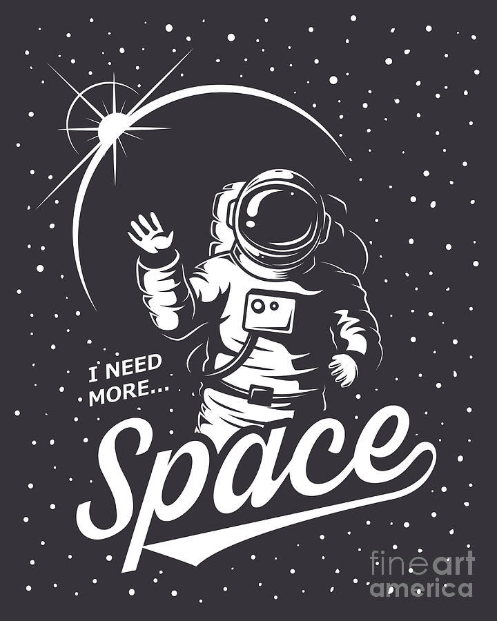 Symbol Digital Art - T-shirt Design Print. Space Theme by Vectorpot