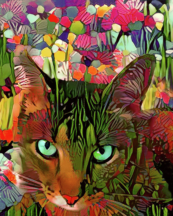 Tabby Cat in the Garden by Peggy Collins