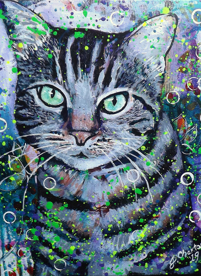 Pet Portraits Painting - Tabby Cat by Goddess Rockstar