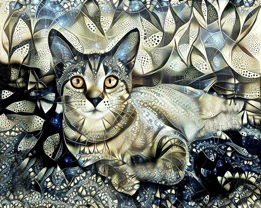 Tabby Cat Portrait - Prada by Peggy Collins