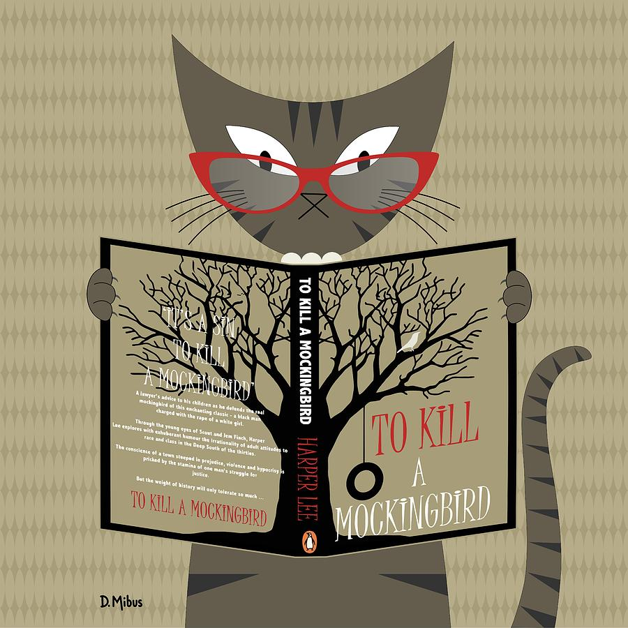 Tabby Cat Reading by Donna Mibus
