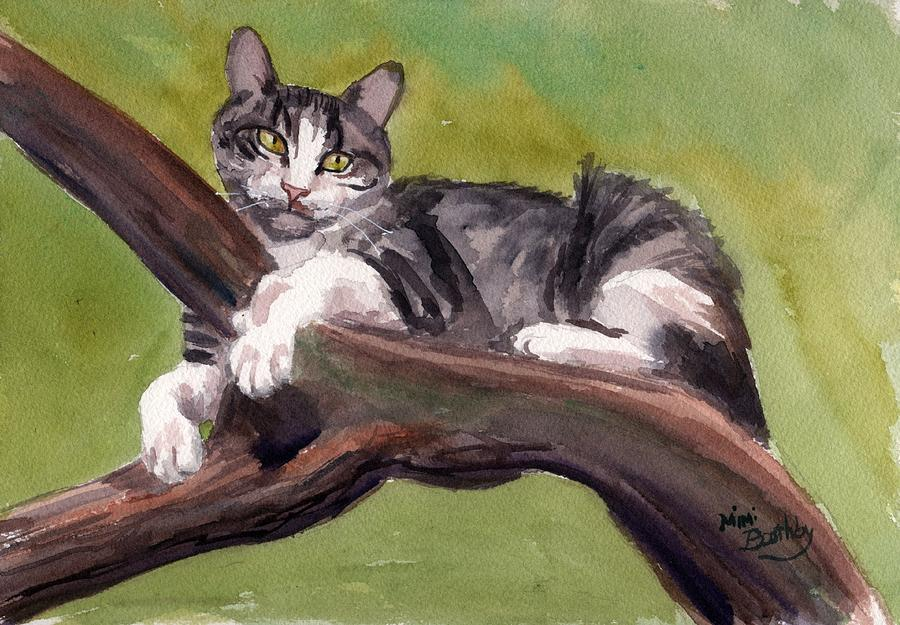 Luna on Olive tree by Mimi Boothby