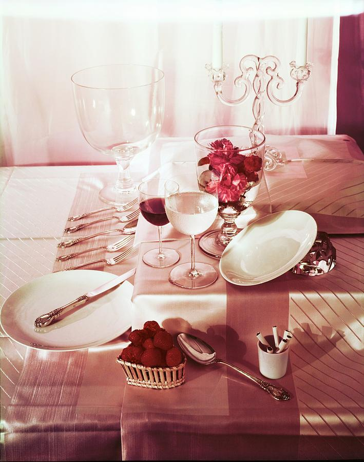 Table Setting With Pink Linens Photograph by Horst P. Horst