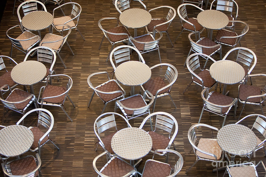 Blackboard Photograph - Tables And Chairs In A Restaurant by Danielw