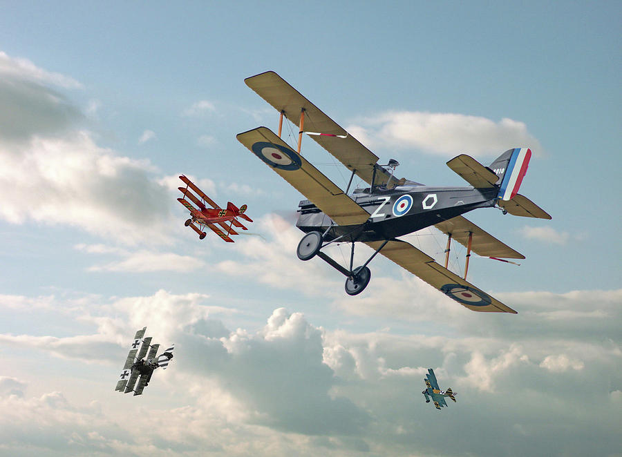 Aircraft Digital Art - Tables Turned - Se5 And Triplane by Pat Speirs