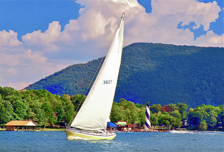 Tacking Lighthouse Sailor, Smith Mountain Lake by The American Shutterbug Society
