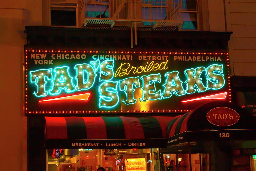 Tads Steaks Sign by Bonnie Follett
