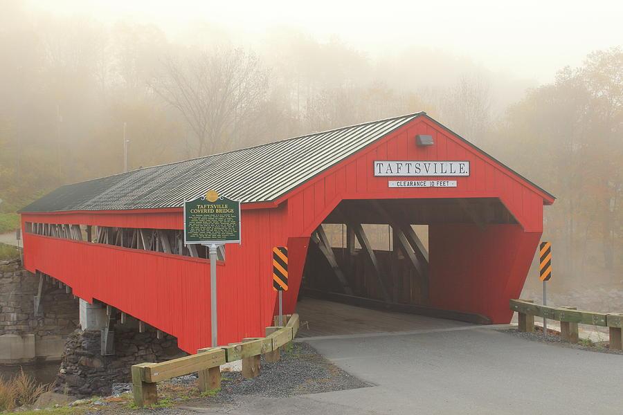 Taftsville Covered Bridge Vermont in Fog by John Burk