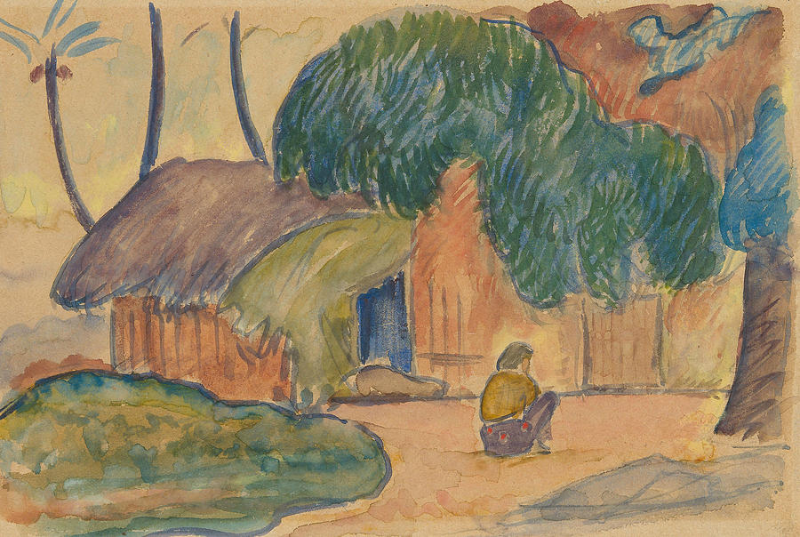 French Painters Drawing - Tahitian Hut by Paul Gauguin