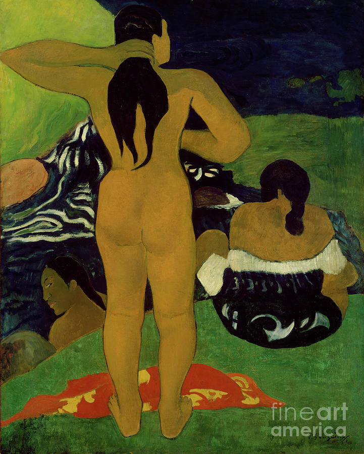 Tahitian Women Bathing Drawing by Heritage Images