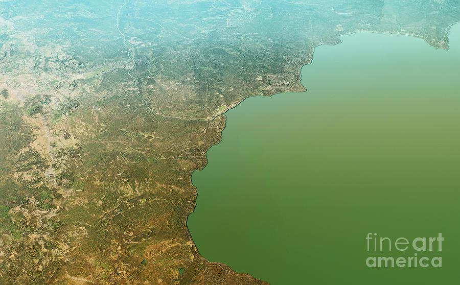 Tahoe City Digital Art - Tahoe City 3D Render Topographic Map Aerial View by Frank Ramspott