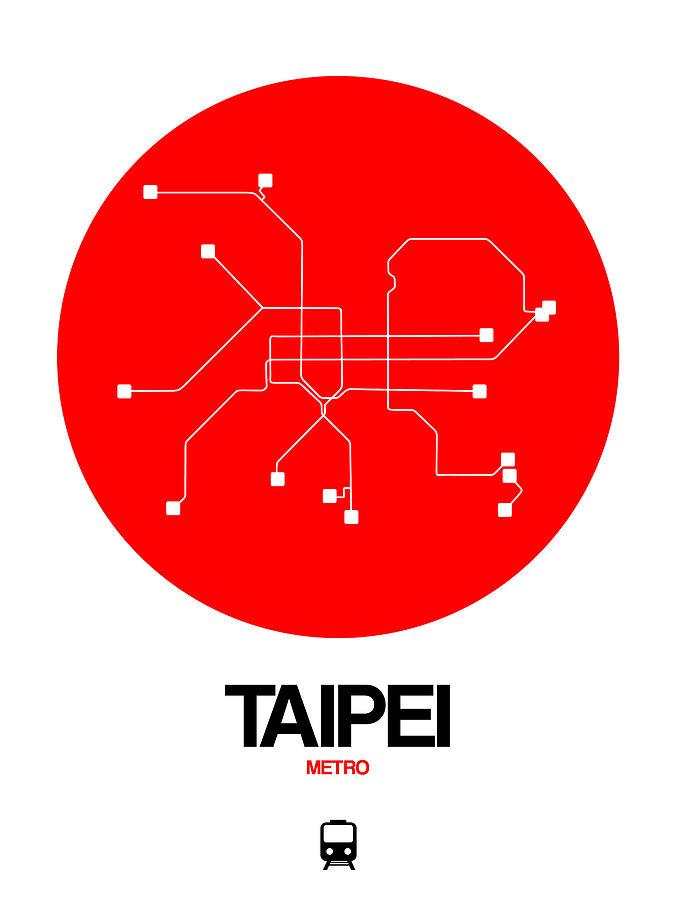Taipei Digital Art - Taipei Red Subway Map by Naxart Studio