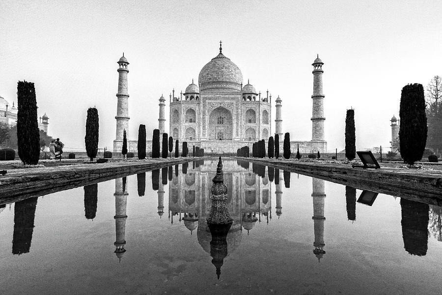 Agra Photograph - Taj Mahal In Black And White by Ian Robert Knight