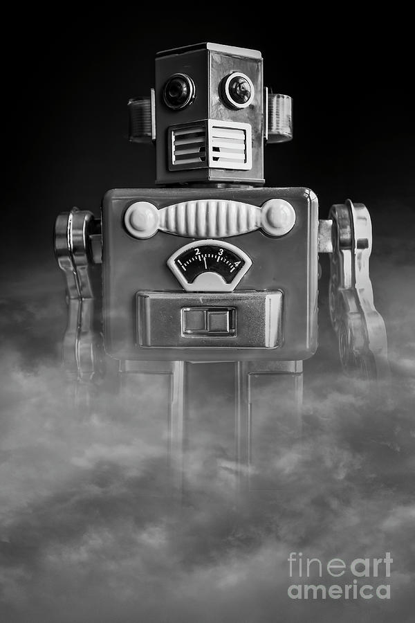 Robots Photograph - Take Me To Your Leader Vintage Tin Toy Robot Black And White by Edward Fielding