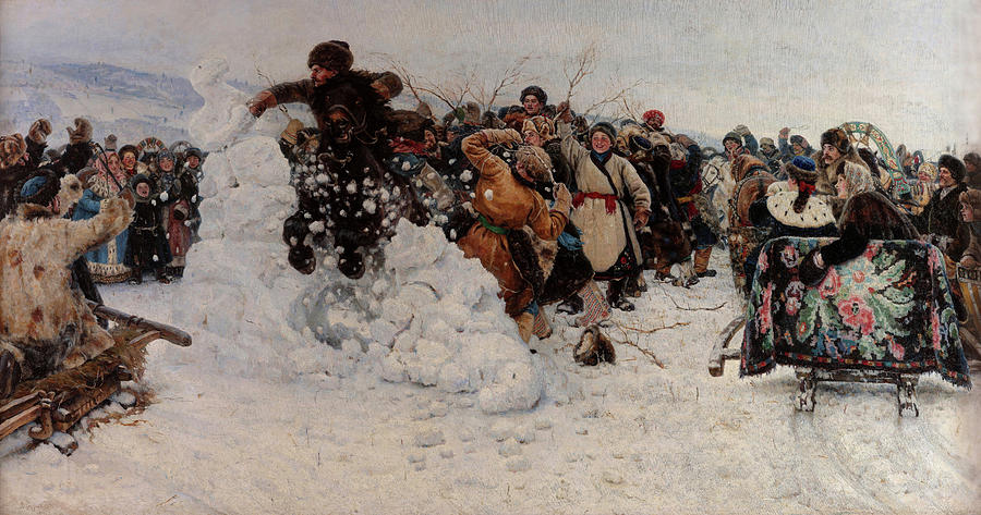 Vasily Surikov Painting - Taking A Snow Town, 1891 by Vasily Surikov