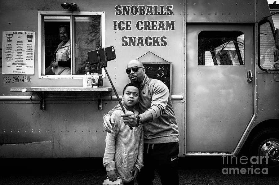 Taking Selfies - Bw Street Photography Photograph