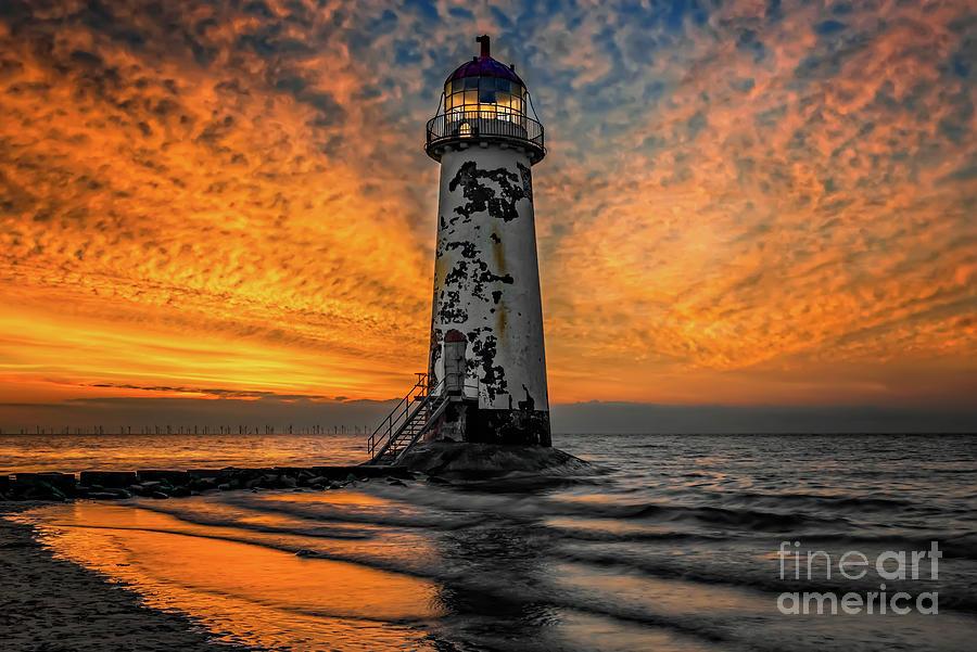 Talacre Beach Lighthouse Sunset by Adrian Evans