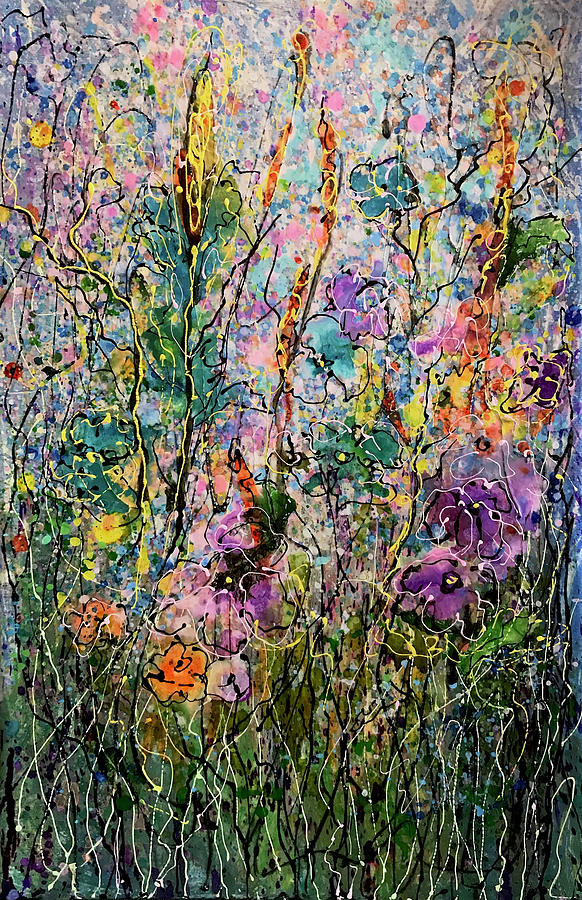 Tall Grass Splatter Floral Abstract #2 by OLena Art by OLena Art