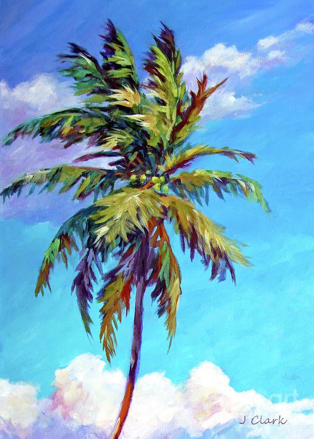 Caribbean Painting - Tall Palm Tree 5x7 by John Clark