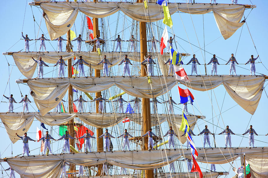 Tall Ship Cuauhtemoc Sailors Farewell Photograph by Greg Pease