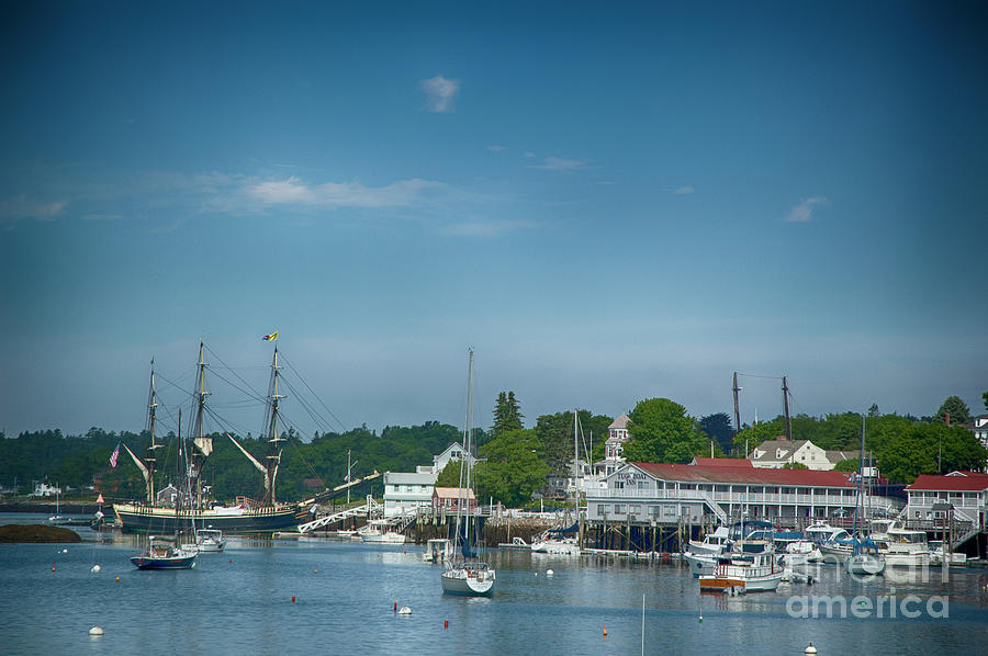 Copy Space Photograph - Tall Ship In Harbor by Ruth H Curtis