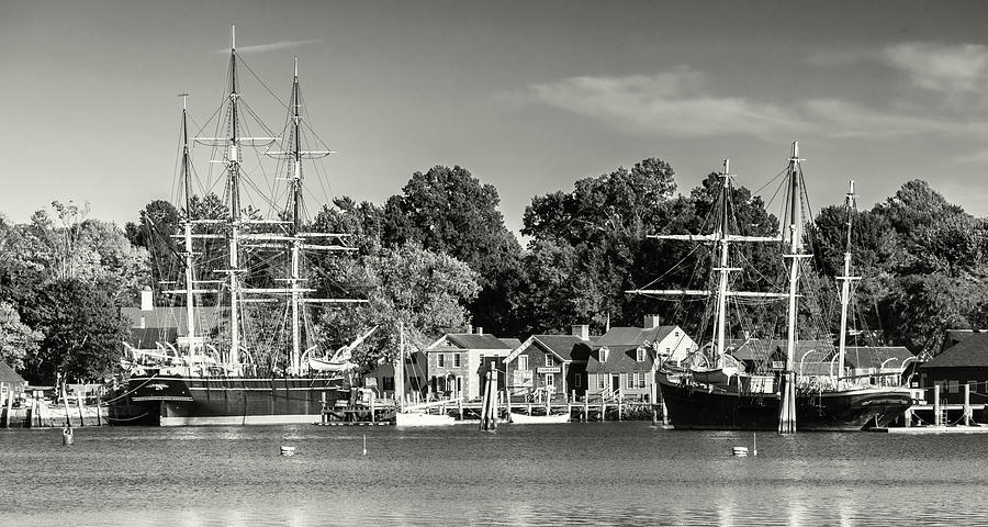 Tall Ships in Mystic Seaport Connecticut by Cliff Wassmann