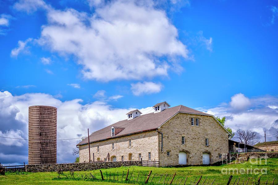 Tallgrass Prairie Limestone Barn by Jean Hutchison