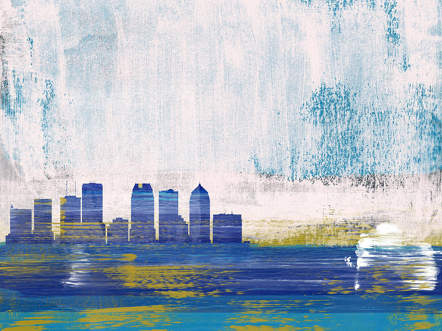 Tampa Mixed Media - Tampa Abstract Skyline I by Naxart Studio