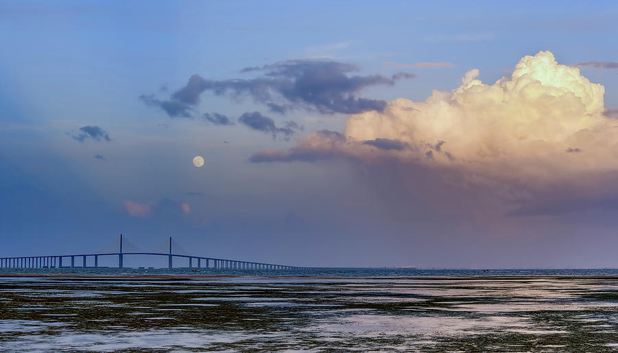 Tampa Bay Moon Rise At Sunset by Steven Sparks