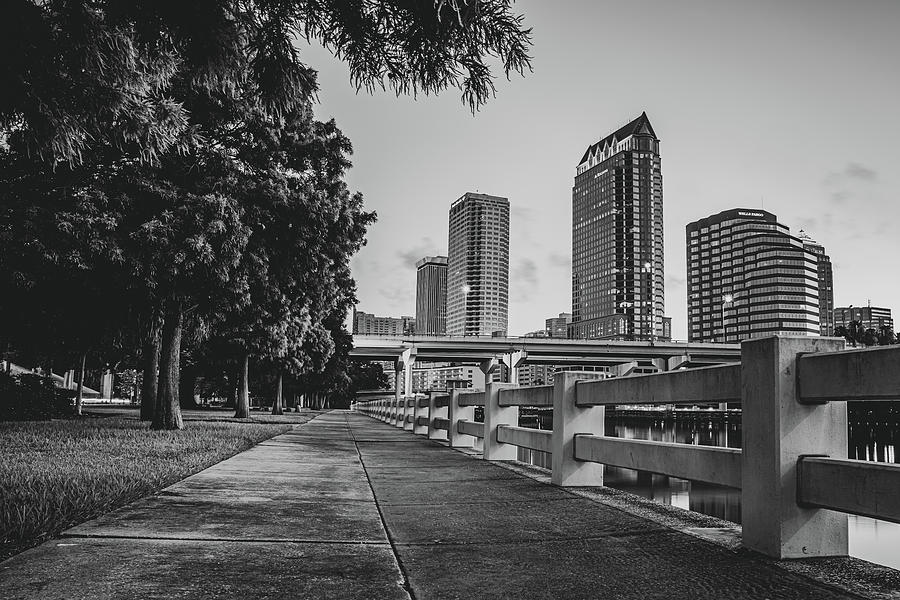 America Photograph - Tampa Florida Riverwalk View In Monochrome by Gregory Ballos
