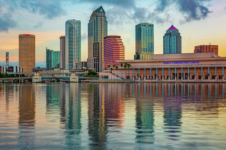 Tampa Florida Skyline and Bay Reflections by Gregory Ballos