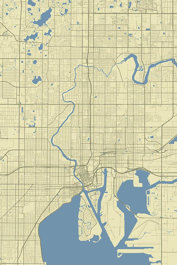 Tampa Florida Usa Clic Map Digital Art by Jurq Studio on