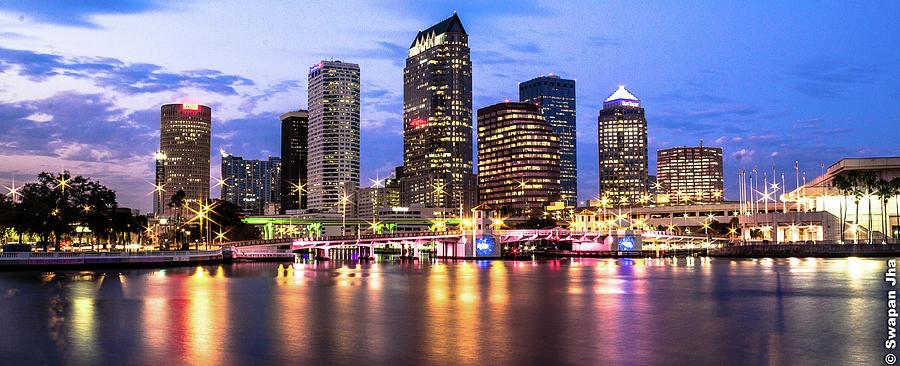 Tampa Skyline Blue Hour Photograph by (c) Swapan Jha