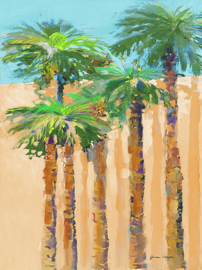 Solitude Painting - Tan Shadow Palms II by Jane Slivka