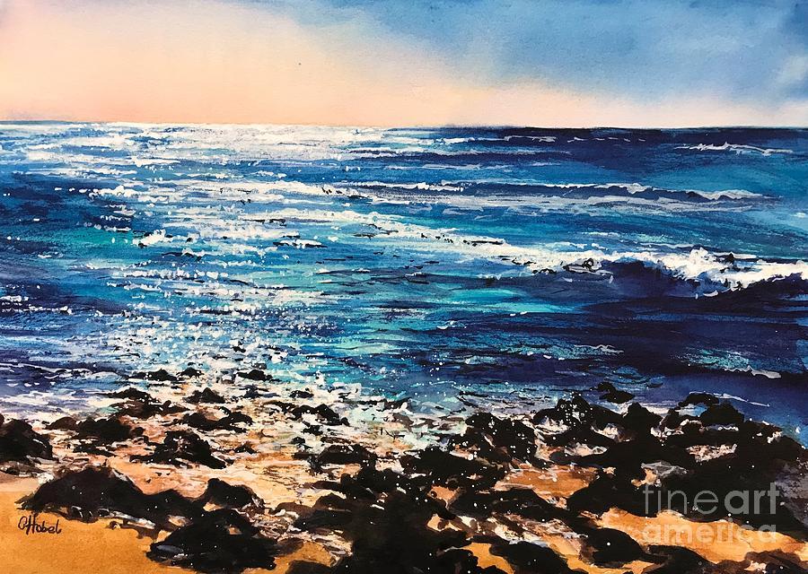 Tangalooma seaside painting by Chris Hobel