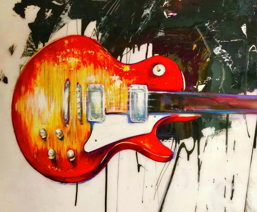 Guitar Painting - Tangelo by Heather Roddy