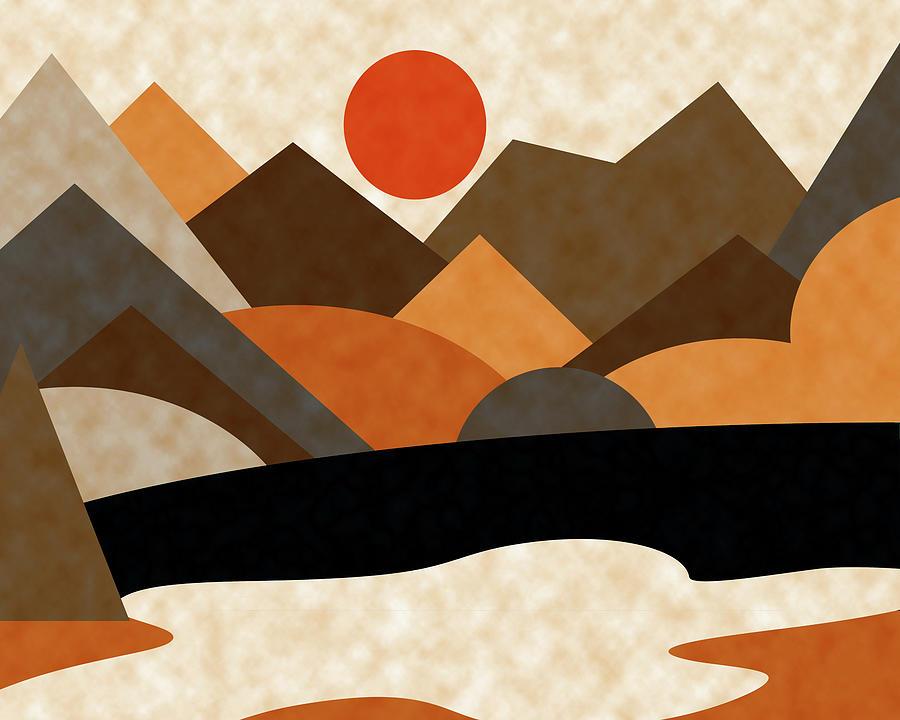 Ruth Palmer Digital Art - Tangerine Sun by Ruth Palmer