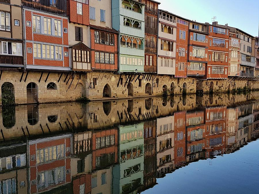 Reflection Photograph - Tanners houses on the Agout by Michael Briley