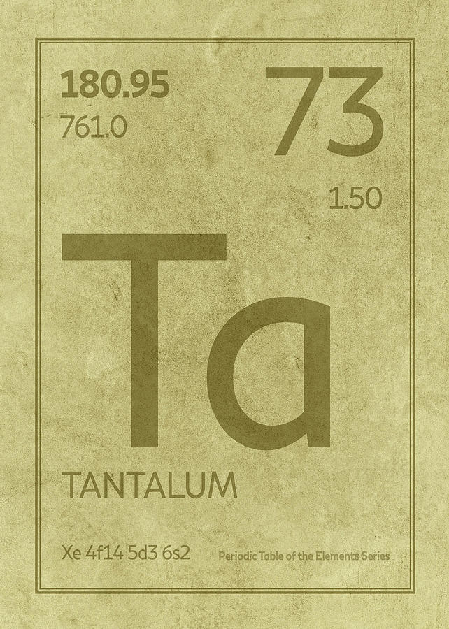 Tantalum Element Symbol Periodic Table Series 073 Mixed Media By
