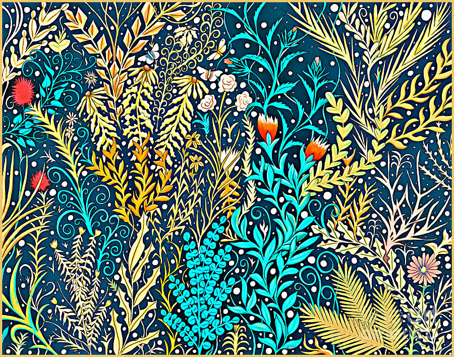 Tapestry and Home Decor Design in Dark Navy Blue with Yellow and Turquoise Foliage by Lise Winne